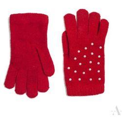 Czerwone rękawiczki damskie z perłowymi koralikami - czerwony SZALIKI, CZAPKI, RĘKAWICZKI (-20%)