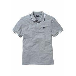 Shirt polo z bawełny pique, krótki rękaw bonprix jasnoszary melanż