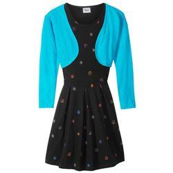 Sukienka dziewczęca + bolerko (2 części) bonprix turkusowo-czarny