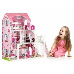 Drewniany domek dla lalek z windą, zjeżdżalnią, mebelki w zestawie darmowa dostawa