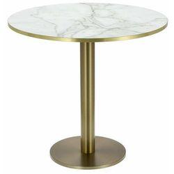 Stół okrągły Corby II 80cm HPL marmur/biały - biały