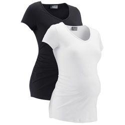 Shirt ciążowy (2 szt.), krótki rękaw bonprix czarny + biały