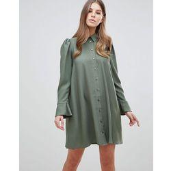 ASOS DESIGN long sleeve mini shirt dress - Green