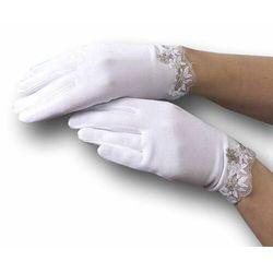 Białe rękawiczki do Komunii Camella koronka RK063