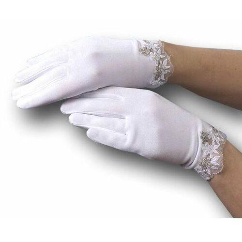 Rękawiczki dziecięce, Białe rękawiczki do Komunii Camella koronka RK063