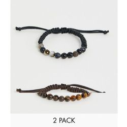 ASOS DESIGN bracelet 2 pack with semi precious stones in black and brown - Multi
