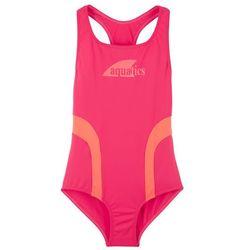 Kostium kąpielowy dziewczęcy bonprix różowy hibiskus - łososiowy pomarańczowy
