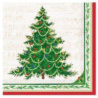 Ozdoby świąteczne, Serwetki z choinką na Boże Narodzenie - 33 cm - 16 szt.