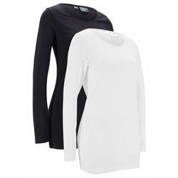 Długi shirt sportowy z bawełny organicznej (2 szt.) bonprix czarny + kremowy