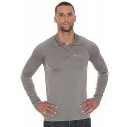 Koszulka męska polo Brubeck Prestige z długim rękawem LS10620 Szary