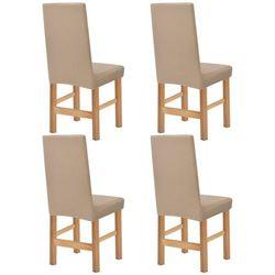 vidaXL Elastyczne pokrowce na krzesła, pikowane, 4 szt., beżowe Darmowa wysyłka i zwroty