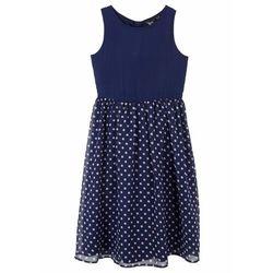 Sukienka dziewczęca w kropki na uroczyste okazje bonprix ciemnoniebiesko-biały w kropki