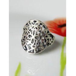 Srebrny pierścionek w kwiaty r. 19