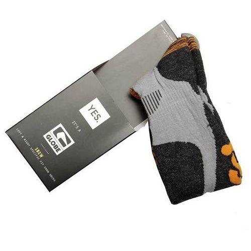 Odzież do sportów zimowych, skarpetki GLOBE - Yes/Globe Pow Pow Sock Grey/Orange (GRYORG)