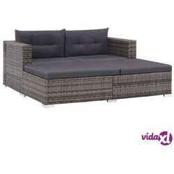vidaXL 3-cz. zestaw wypoczynkowy do ogrodu, poduszki, rattan PE, szary Darmowa wysyłka i zwroty