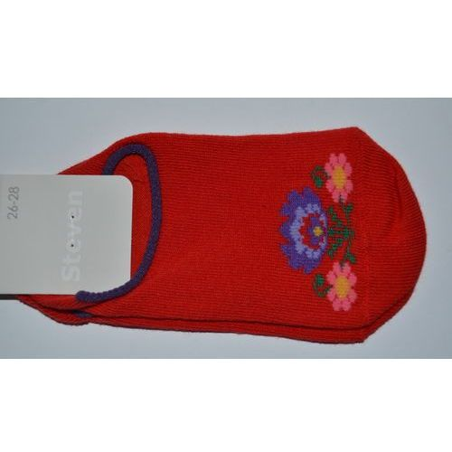 Skarpety dziecięce, Stopki dziecięce ze wzorem ludowym, z łowickimi kwiatami, czerwony, rozm. 26-28