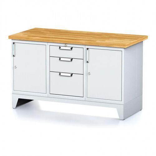 Stoły warsztatowe, Stół warsztatowy MECHANIC, 1500x700x880 mm, 1x 3 szufladowy kontener, 2x szafka, szara/szara