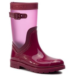 Kalosze TOMMY HILFIGER - Translucent Detail Rain Boot FW0FW04126 Beet Red 522