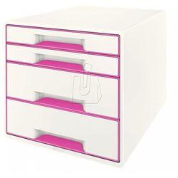 Pojemnik Leitz Wow dwukolorowy z 4 szufladami różowo-biały 52131023