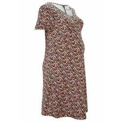 Sukienka ciążowa z bawełny organicznej bonprix czarno-jasnoróżowy w kwiaty