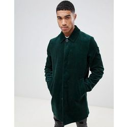 ASOS DESIGN single breasted cord trench coat in bottle green - Green