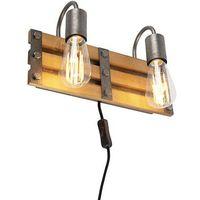 Kinkiety, Przemysłowy kinkiet Antyczna stal z drewnem 2 lampy - Paleta