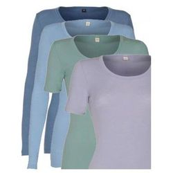 Koszulka damska z wełny merynosów (100%) - długi rękaw - pastelowe kolory - DILLING