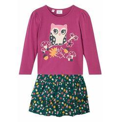 Shirt dziewczęcy z długim rękawem + spódnica (2 części), bawełna organiczna bonprix fioletowo-głęboki zielony