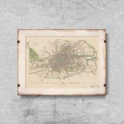 Plakaty w stylu retro Plakaty w stylu retro Archiwalne mapy Dublina w Irlandii