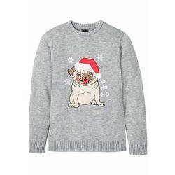 Sweter z bożonarodzeniowym motywem bonprix jasnoszary melanż