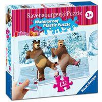 Puzzle, Puzzle plastikowe 12 elementów. Masza i Niedźwiedź. Święto na lodzie + zakładka do książki GRATIS