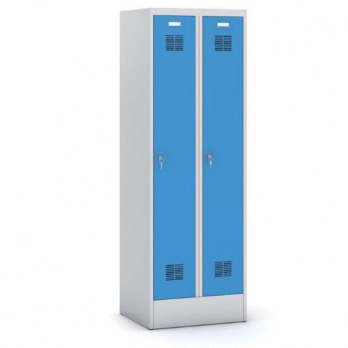 Szafki do przebieralni, Metalowa szafka ubraniowa, niebieskie drzwi, zamek cylindriczny