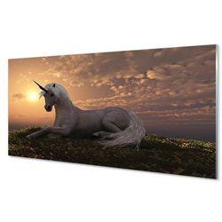 Panel Szklany Jednorożec góry zachód słońca