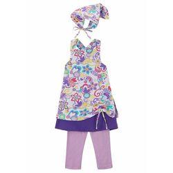 Sukienka dziewczęca + legginsy + chustka na głowę (3 części) bonprix biało-kremowy bez w kwiaty
