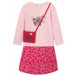 Shirt dziewczęcy z długim rękawem + spódnica + torebka (3 części) bonprix kremowy jasnoróżowy - różowy magenta