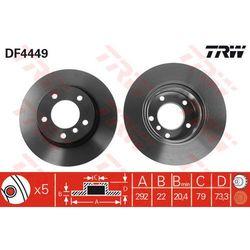 TARCZA HAM TRW DF4449 BMW E81, E87 118I, 118D 07-, 120I, 120D 04-, E90 316I 06-