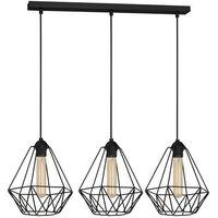 Lampy sufitowe, Lampa wisząca Luminex Basket New 8063 lampa druciana diament 3x60W E27 czarna