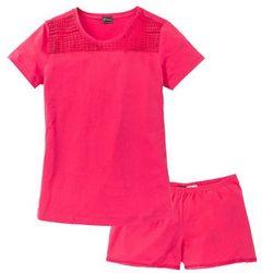 Piżama z krótkimi spodenkami bonprix różowy hibiskus