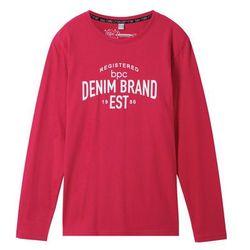 Shirt z długim rękawem i nadrukiem bonprix ciemnoczerwony z nadrukiem