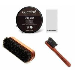 Zestaw do pielęgnacji butów pasta + szczotka do polerowania + mazak coccine bezbarwny