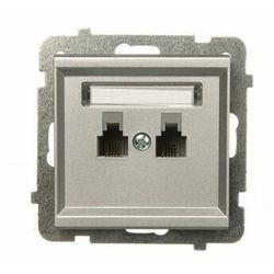 Gniazdo telefoniczne podwójne równoległe p/t, srebrny mat GPT-2RR/m/38 OSPEL SONATA