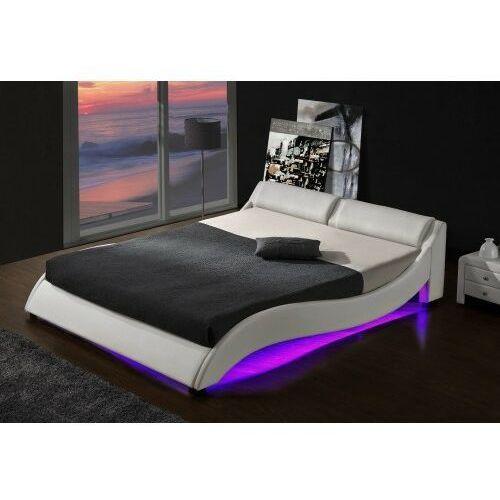Łóżka, ŁÓŻKO TAPICEROWANE DO SYPIALNI 160x200 868 LED CZARNE