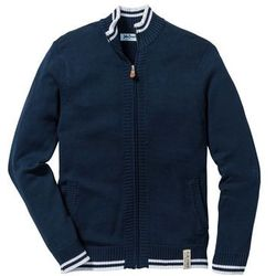 Sweter rozpinany Regular Fit bonprix ciemnoniebieski