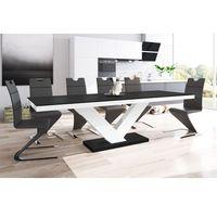 Stoliki i ławy, Stół rozkładany Victoria czarno-biały wysoki połysk