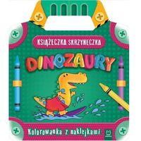 Literatura młodzieżowa, Książeczka-skrzyneczka dinozaury kolorowanka z naklejkami - praca zbiorowa