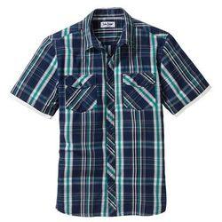 Koszula z krótkim rękawem Regular Fit bonprix niebieski dżins w kratę