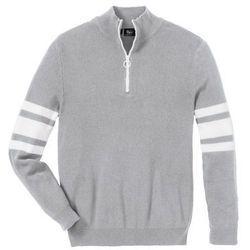 Sweter ze stójką z zamkiem, z bawełny z recyclingu bonprix jasnoszary melanż
