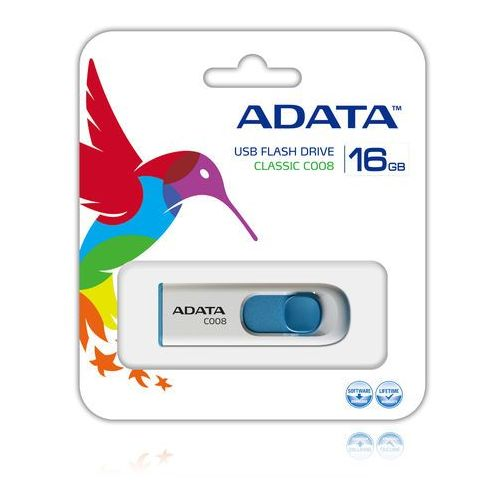 Flashdrive, ADATA pami?? C008 16GB USB 2.0 ( White+Blue )