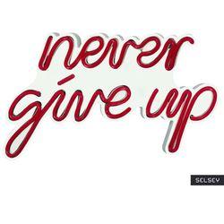 SELSEY Neon na ścianę Letely z napisem Never Give Up czerwony