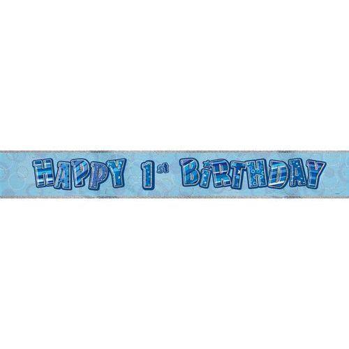 Pozostałe wyposażenie domu, Baner Happy 1st Birthday niebieski na urodziny - 1 szt.